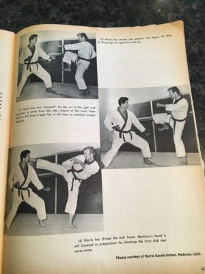 Black belt magazine 1967, showing Victor Martinov as a Red Belt during a photo shoot with Mr. Carlos (Chuck) Norris at the Norris Karate School in Redondo, CA.