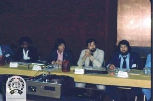 Martinov SBN sitting next to Kenyon SBN and Moonitz SBN at the NY Charter Convention 1975