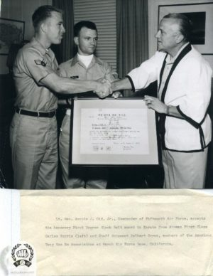 Chuck Norris presenting Moo Duk Kwan certificate from Hwang Kee on behalf of his authorized American Tang Soo Do Association in the USA.